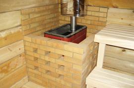 Обкладываем кирпичом железную печь в бане