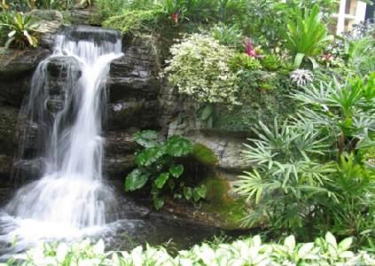 Альпинарий с водопадом и большим количеством зелени