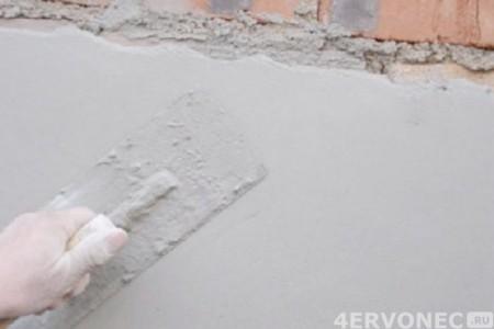 Штукатурка цементным раствором кирпичных стен
