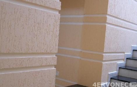 Внешний вид стен после покрытия штукатуркой «Короед»