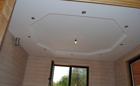 Двухуровневая конструкция из гипсокартона на потолке
