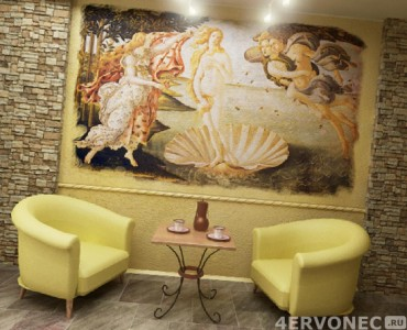 Вид фрески в интерьере