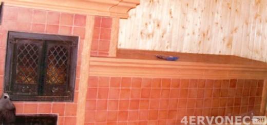 Печь, облицованная керамической плиткой эластичным клеем