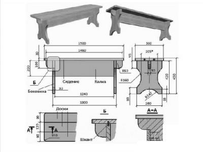 Схема сборки банной скамьи