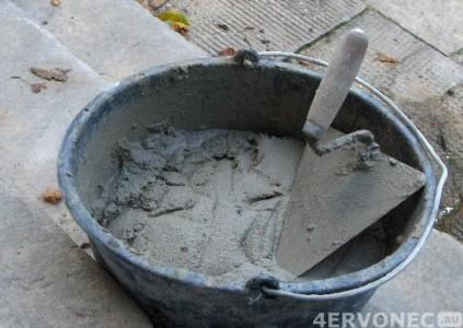 Цементно-песчаная штукатурка после приготовления
