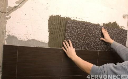 Облицовка стен плиткой шоколадных оттенков