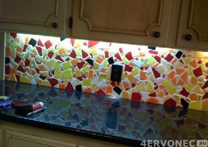 Оформление кухонного фартука мозаикой