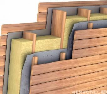 Схема материалов при монтаже блок-хауса под дерево