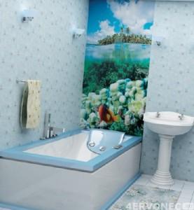 Ремонт ванной голубыми пластиковыми панелями